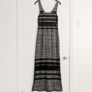 Free People heather grey black lace dress